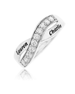 Sterling Silver And Cubic Zirconia Personalised Half Twist Eternity Ring