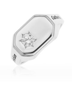 Sterling Silver Personalised Cubic Zirconia Set Gent's Ring