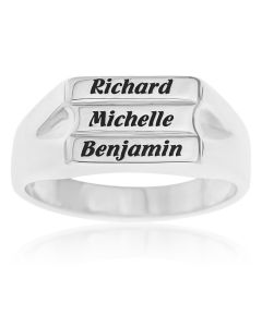 Sterling Silver Personalised 3 Block Band Ring
