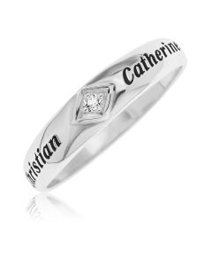 Sterling Silver Personalised White Topaz Band Ring