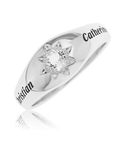 Sterling Silver Gent's Personalised Single Stone Ring