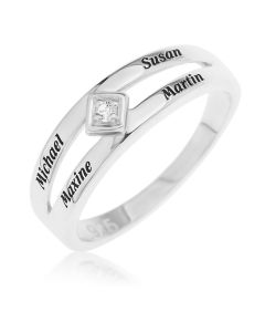 Personalised Split Band Single Stone Ring