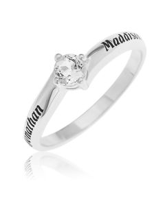 Sterling Silver Personalised white Topaz Solitaire Ring