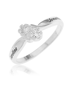Sterling Silver Personalised Topaz Stones Crossover Ring