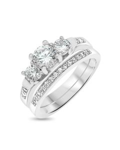 Sterling Silver Two-Piece CZ Ring Set