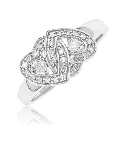 Sterling Silver Diamond Set Two Twisted Hearts Ring