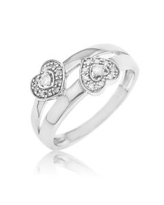 Sterling Silver Diamond Set Double Heart Ring
