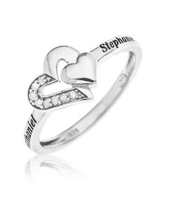 Sterling Silver Personalised Two Names Diamond Set Double Heart Ring
