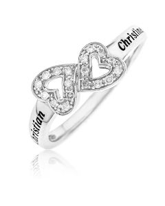 Rhodium Plated Silver Personalised Diamond Set Double Heart Ring