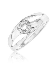 Sterling Silver D Shaped Personalised Diamond Set Heart Ring from Dolce Valentina.