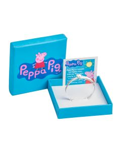 Silver Double Heart Embossed Bangle With Peppa Pig End