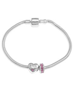 Sterling Silver Personalised Heart Birthstone And Rondel Birthstone Charm Bracelet