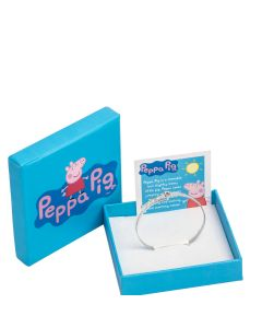Sterling Silver Red Enamel Peppa Pig Expander Baby Bangle