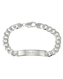 "Sterling Silver Men's Solid 8.5"" Personalised ID Bracelet"