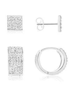 Silver Men's Set Of Crystal Stud and Hoop Earrings
