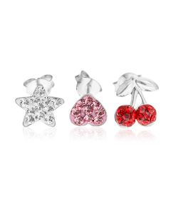 Sterling Silver Set Of Three Crystal Stud Earrings