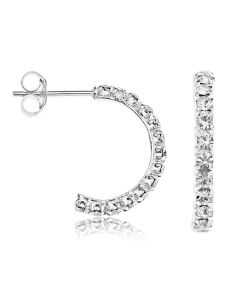 Sterling Silver Crystal Set Half Hoop Earrings