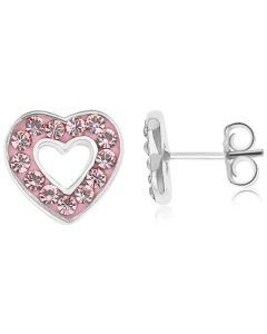 Silver Kids Open Pink Crystal Heart Stud Earrings