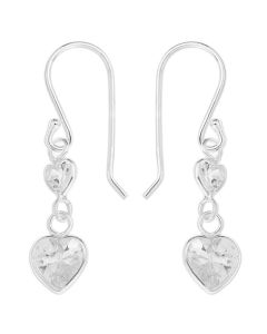 Sterling Silver White Cubic Zirconia Heart Drop Earrings