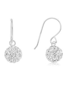 Sterling Silver Crystal Set Ball Drop Earrings