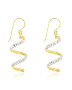 9ct Yellow Gold Crystal Set Earrings