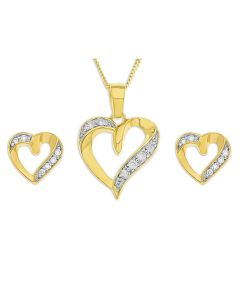 "Gold Plated Silver CZ Heart Stud Earrings And Pendant On 18"" Curb Chain"