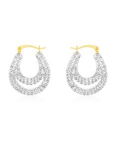 9ct Yellow Gold Crystal Hoop Earrings