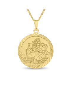 "GP Silver St. Christopher Pendant On 18"" Curb Chain"