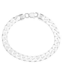 """Sterling Silver Gent's 8.5"""" Curb Bracelet 31.1g"""