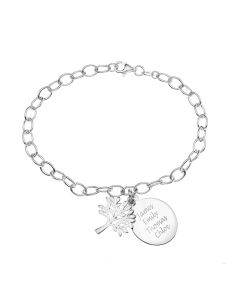 Sterling Silver Personalised With Up To Four Names Belcher Bracelet With Disc And Tree Charm