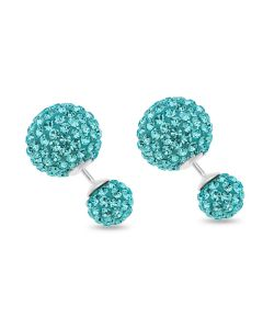 Sterling Silver Crystal Glitz Blue Ball Stud Earrings