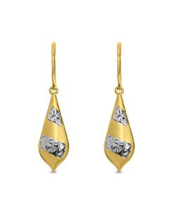 Gold Plated Silver Dia Cut Teardrop Hook Earrings