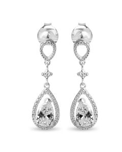 Sterling Silver Cubic Zirconia Fancy Tear Drop Earrings