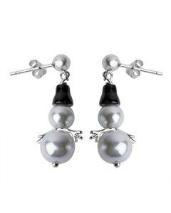 Sterling Silver Pearl Enamel Snowman Hook Earrings