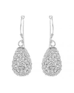 Sterling Silver Crystal Teardrop Hook Earrings