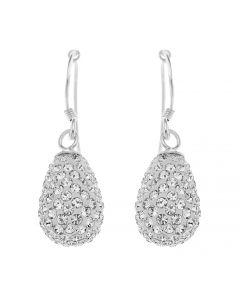 Sterling Silver Crystal Teardrop Hook Earrings