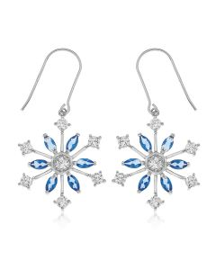 Sterling Silver Blue And Clear Crystal Starburst Drops Earrings