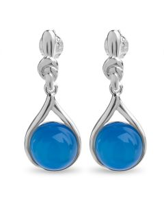 Sterling Silver Synthetic Blue Cat's Eye Knotwork Earrings