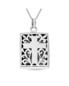"Sterling Silver Oxidised Filigree Cross Locket On 18"" Curb Chain"