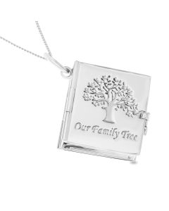 "Sterling Silver 'Our Family Tree' Album Locket Pendant On 18"" Curb Chain"