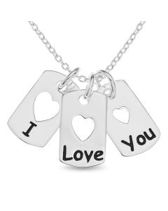"Sterling Silver 'I Love You' Tags Necklet on 18"" Macro Belcher Chain"