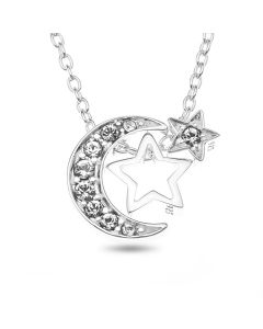 "Sterling Silver Crystal Moon And Star Necklet On 18"" Macro Belcher Chain"