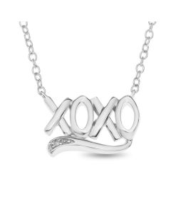 "Rhodium Plated Silver Diamond Set 'XOXO' Necklet On 16"" Macro Belcher Chain"