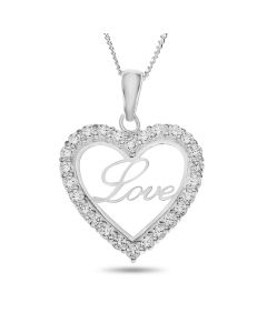 "Sterling Silver Cubic Zirconia Set 'Love' Heart Pendant On 18"" Curb Chain"