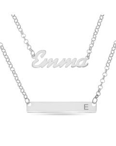 "Sterling Silver Personalised Name Plate and Initial Bar Layered Necklace on 16"" And 18"" Belcher Chains"