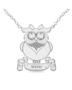 "Sterling Silver Personalised Owl Necklace On 16"" Trace Chain"