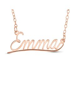 "Rose Gold Plated Silver Personalised Underlined Name Plate Necklace on 18"" Trace Chain"