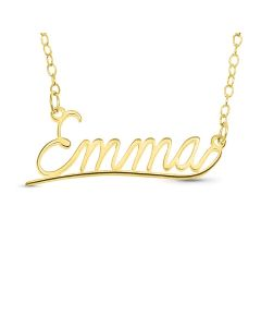 "Gold Plated Silver Personalised Underlined Name Plate Necklace on 18"" Trace Chain"