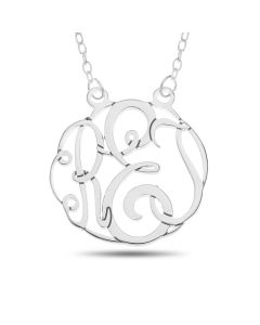 "Sterling Silver Personalised Three Initial Round Monogram  Necklace On 16"" Trace Chain"