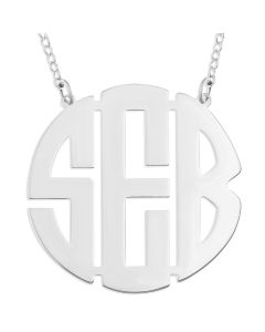 "Sterling Silver Personalised Three Initial Monogram Necklace On 16"" Trace Chain"